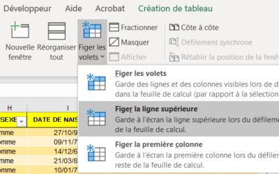 Microsoft Excel – Figer les volets (verrouiller l'affichage de lignes et/ou de colonnes d'un tableau)