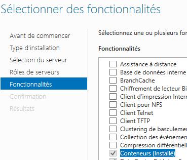 Fonctionnalité Conteneurs