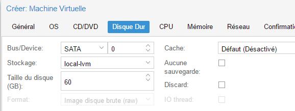 Paramètres du disque dur