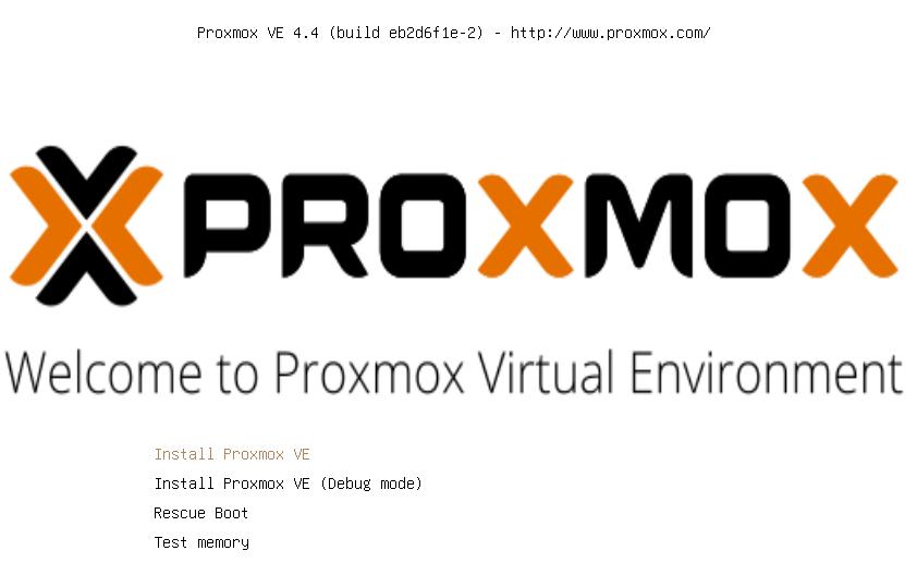 Ecran d'installation de Proxmox VE