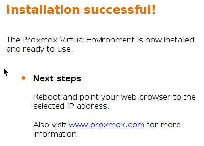 Fin d'installation de Proxmox VE